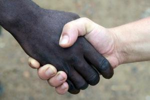 Black and white handshake
