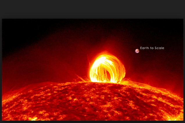 Earth scaled to size compared to Solar Flare