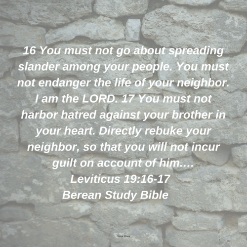 16 You must not go about spreading slander among your people. You must not endanger the life of your neighbor. I am the LORD. 17 You must not harbor hatred against your brother in your heart. Directly rebuke your nei.png